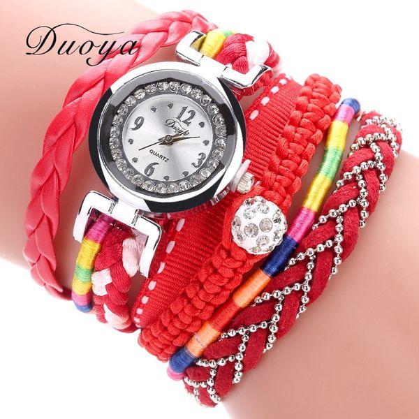 DUOYA Reloj de pulsera para mujer 5 colores Moda elegante con incrustaciones de diamantes Pequeño giro Reloj de mujer con pulsera Easy Read Face
