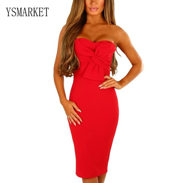 YSMARKET Royal Blue Nero Rosso Twist Knot Anteriore senza spalline Midi Dress Sexy Night Club Wear Abbigliamento Summer Backless Bodycon Dress Donna E610881