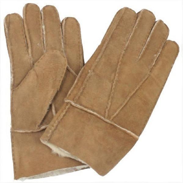 Cool Men's Winter Genuine Brown Sheepskin Leather Shearling Fur Warm Gloves New