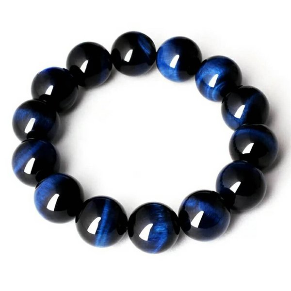 Wholesale Natural Blue Tiger Eye Gems Bracelets For Women Men Powerful Stretch Crystal Round Bead Bracelet 12mm 14mm 16mm