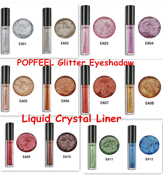 POPFEEL Glitter Eyeshadow Powder Liquid Crystal Liner Eye shadow Stick Diamond Shimmer Powder 12colors