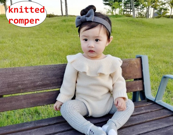 INS Newborn Girl Doll collar Romper Baby unisex Knitted long sleeve Jumpsuit Infant Solid color Spring Autumn overalls 2colors 5size