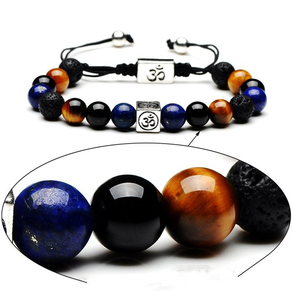 Trend mix and match fashion woven bracelet 8mm natural stone square tiger eye stone blue pine green gold black onyx volcanic stone bracelet