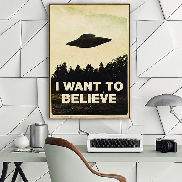Je veux croire - Affiche décorative en papier Vintage Kraft, intérieur, bar, café, peinture décorative