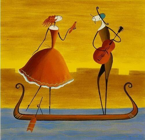 Hand Painted Modern Abstract People Portrait Oil Painting on Canvas Handmade Couple Musician Play the Violin in the Boat View painting