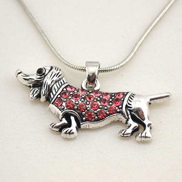 Crystal Dachshund Cute Little Puppy Dog Spot Drill Pendant Necklace Doxie Animal Lover On Snake Chain Necklaces Pet Jewelry
