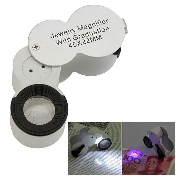 Precio diferente 45X 22mm Escala Joyero LED Light UV Lupa Lupa Lupa de Vidrio Loop Watch Repair Tool