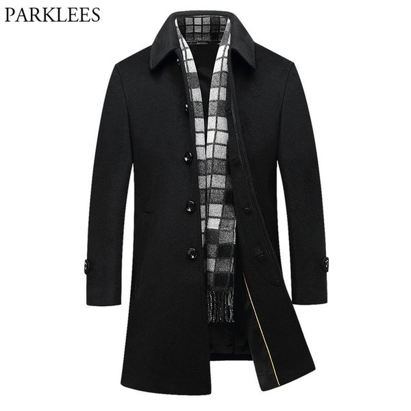 Black Long Wool Trench Coat Men 2018 Brand New Winter Men's Long Trench Coats Slim Fit Single Breasted Male Woolen Pea Coat 4XL
