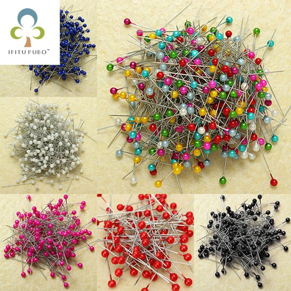 200 pcs/lot Round Pearl Head Dressmaking Pins Weddings Corsage Florists Sewing Pin Mixed Color accessories