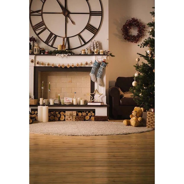 Indoor Xmas Party Photo Booth Background Printed Fireplace Big Clock Garland Christmas Tree Toy Bear Baby Kids Photography Backdrops