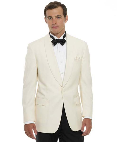 2018 Beige Shawl Lapel Men Suits Wedding Suits For Man Custom Made Bridegroom Groomsmen Prom Tuxedos Formal Best Man Blazer (Jacket+Pants)