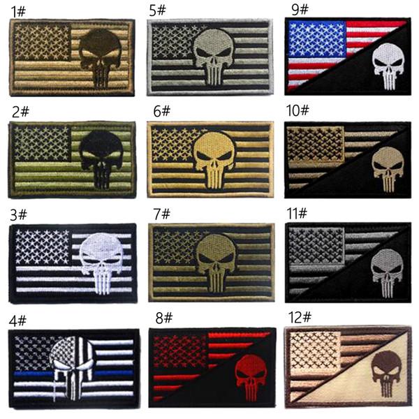 VP-162 High Quantity Bandiera USA + Punisher Blue line Tattico tattico 3D ARMY Patch ricamato Applique HookLoop Morale Badge per stemma