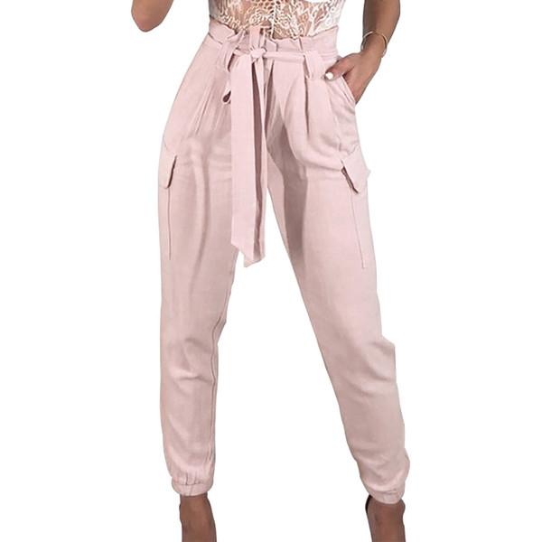 2018 New Arrivals Fashion Cool Hip Hop Women Pants White Pink Ankle Length Pants Harem Sweatpants Trousers Womens