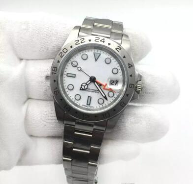 Hot Sale Mens Watch EXP White Dial Automatic Mechanical Movement Stainless Steel Men Watches Male Wristwatch.