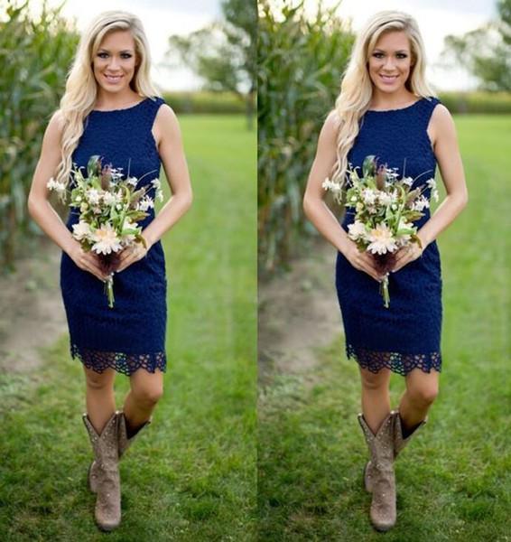 Kraliyet Mavi Dantel Kısa Ülke Gelinlik Modelleri Için 2016 Ucuz Jewel Fermuar Geri Diz Boyu Batı Nedensel Düğün Custom Made