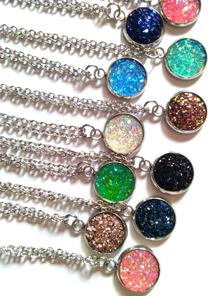 Free shipping brand druzy crystal Pendant Necklaces jewelry fashion gemstone crystal necklace christmas gift