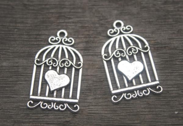 12pcs/lot--Birdcage charms, Antique Silver Vintage Love Hearts Birds Cages Birdcage Charms Pendants 33x20mm