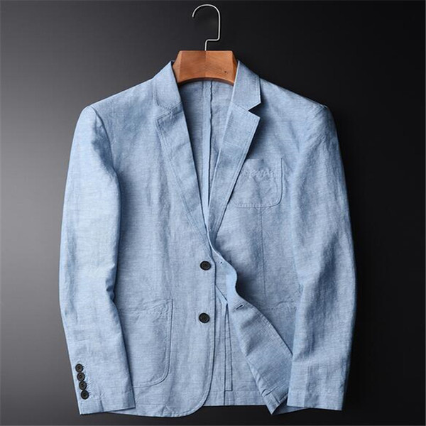 Summer New Casual Blazer Men Fashion Basic Blazer Slim Fit Blue Jacket Brand Coat Button Suit Men Jacket For Male A3646