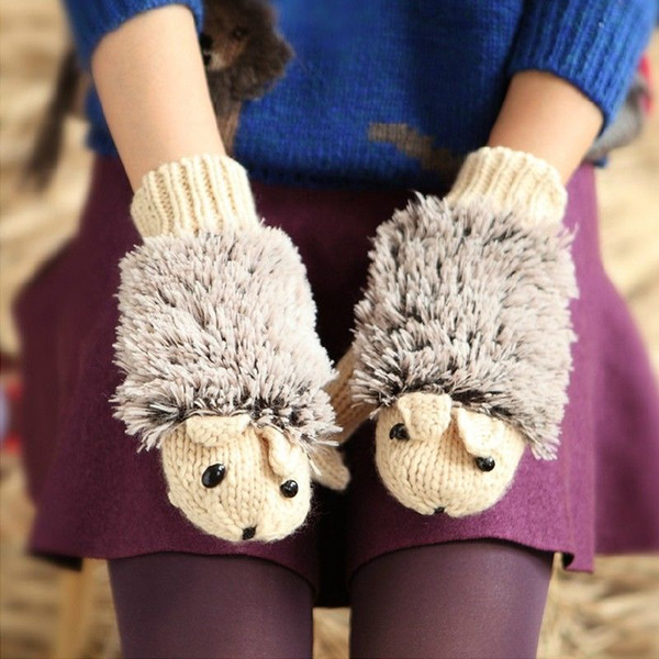 Women Gloves Winter Warmer Knitted Crochet Wrist Cartoon Fleece Heated Mittens