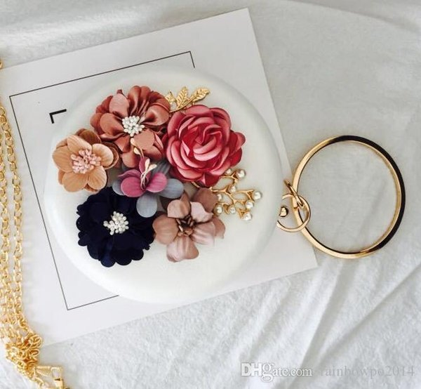 Elegant and delicate stereoscopic flower woman hand bag fashion set auger round hand holding packages Club banquet wedding bride hand bag