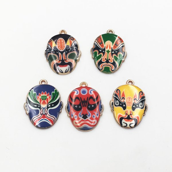 Free Shipping 10pcs/lot New Arrival Gold Plated Chinese Beijing Opera Mask Charms Enamel Pendants For Key chain Bracelet Jewelry Making