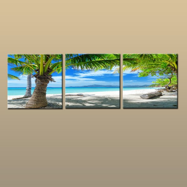 Framed/Unframed Large Contemporary Wall Art Print On Canvas Hawaii Palm Tree Beach Sunset Glow Landscape 3 pieces Picture Home Decor abc238