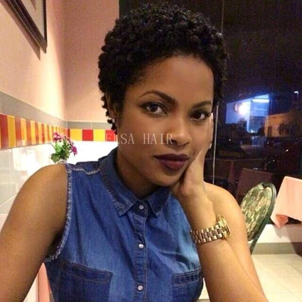 Parrucche naturali fatte a macchina dei capelli umani ricci crespi afro neri naturali parrucca piena Glueless del pizzo con i capelli del bambino Brevi parrucche brasiliane dei capelli per le donne nere