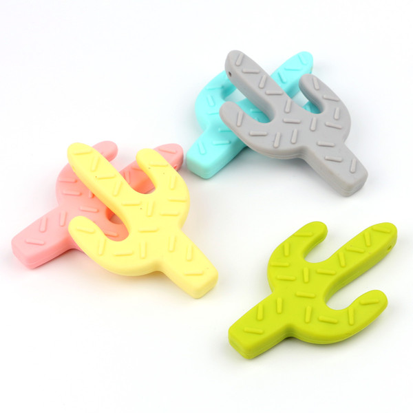 Cactus Food Grade Silicone 2018 new DIY Teether Necklace Bpa Free Baby Chew Toys Chewable Soft Baby Teether Safe Teether Pendant free ship