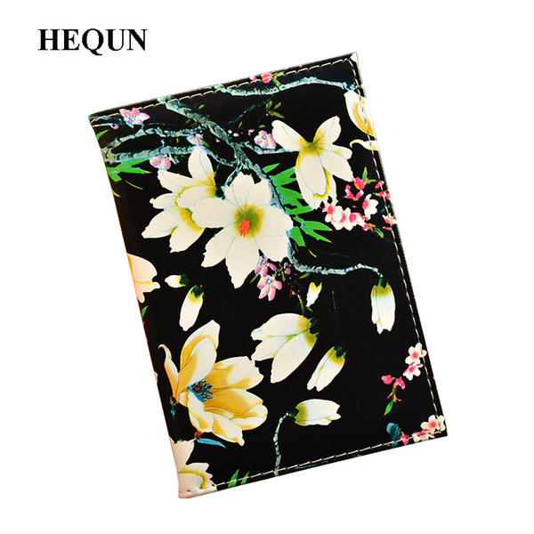 HEQUN Fashion Travel Passport Cover for Women Pu Leather Passport Holder Wallet irl Floral Print on The Case Bag