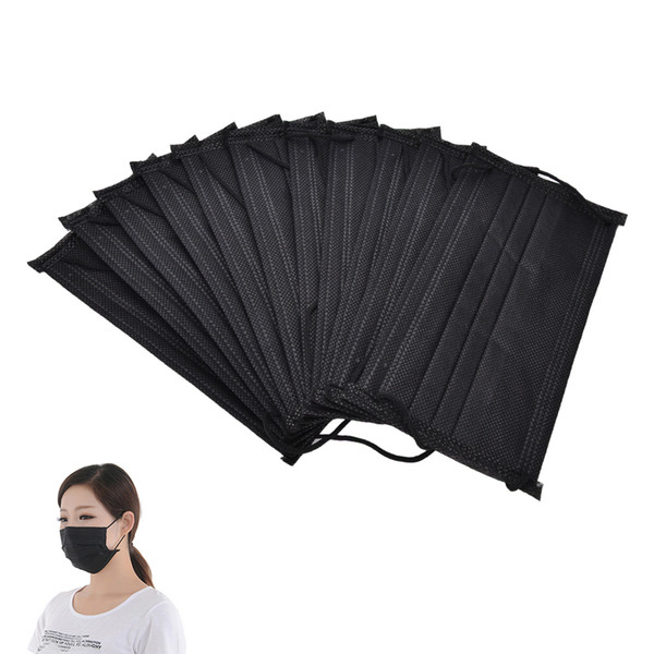 1000pcs Black Non Woven Disposable Face Mask 4 Layer Medical dental Earloop Activated Carbon Anti-Dust Face Surgical Masks
