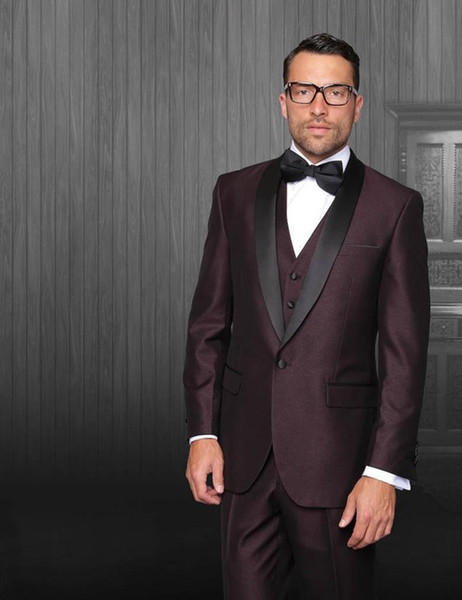 Dark Burgundy Mens Suits 2018 wedding suits for groom Tuxedos Grooms Suits One button the best man suits(Jacket+Pants+Vest+Bow)