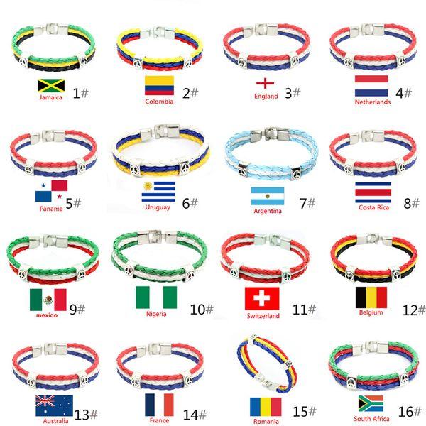 Bracelets Bijoux Coupe Du Monde National PU Drapeaux Souvenir Coupe Du Monde Pour Femmes Hommes Fans Mode Corde Tressée Charmes En Cuir PU Bracelet