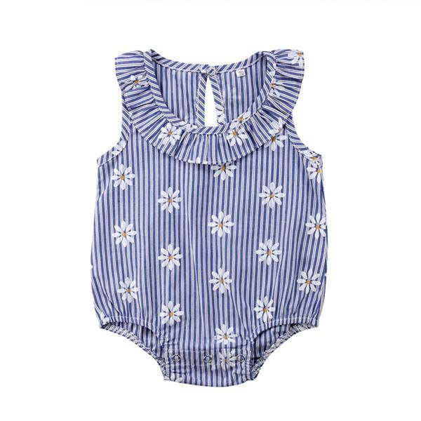 Baby Mädchen Bodysuit Neugeborenen Kleinkind Kinder Sommer Sleeveless Sunflower Print Streifen Blau Overall Sunsuit Kleidung Outfit 0-24 Mt
