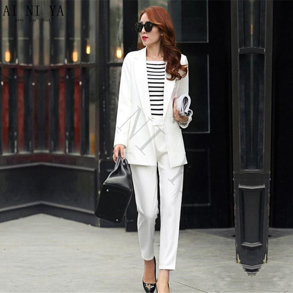 Winter Work Wear Women Pant Suit Slim Elegant Formal White Long Sleeve Blazer With Trousers Office Uniform Ladies Suits