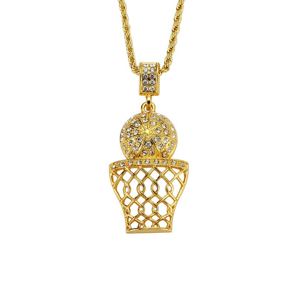 New Fashion Men Basketball Pendant Necklaces for Rhinestone Design 18k Gold Plated Micro Rock Rap Hip Hop Jewelry 75cm Long Chain