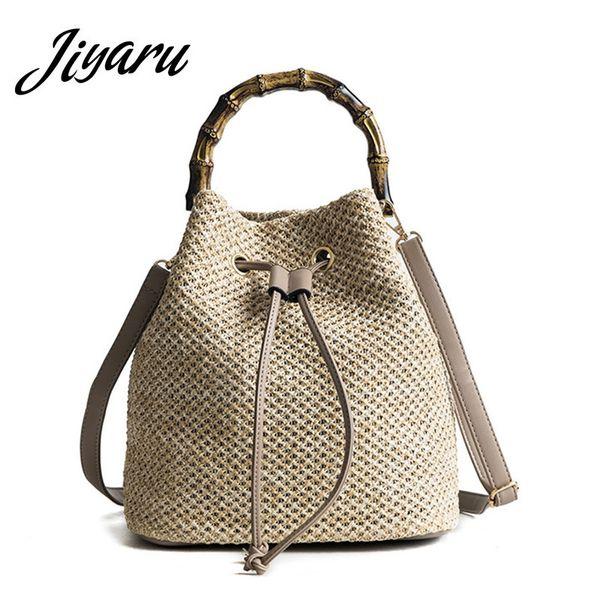 Summer Straw Bucket Bag Drawstring Shoulder Bags Round Rattan Bag Purse Handbag Large Beach Tote for Woman Ladies Crossbody