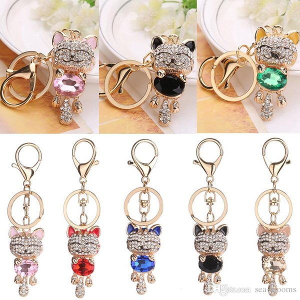 Newest 7 Styles Lucky Smile Cat Keychain Crystal Rhinestone Keyrings Kitten Pendant Handbag Bag Car Keychains Keyfob Jewelry Key Ring D298SF