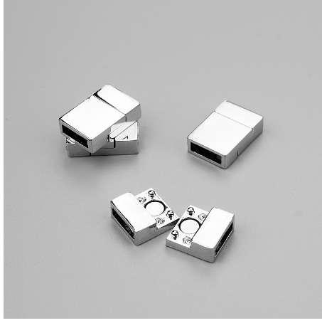 10pcs/lot 3*10mm Rhodium Plated Magnetic Clasps Charms Fitting Clasps Hooks Flat Leather Jewelry Accessories Findings