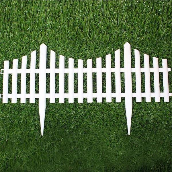 Compre 5 Unids Plastico Valla De Jardin Facil Montar Blanco Estilo