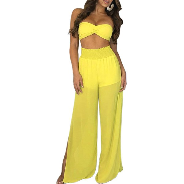 2018 New Arrivals Sexy Ladies Strapeless Blue Bow YelloTop+Wide Leg Pants 2 pieces Summer Women Romper Jumpsuits Streetwear