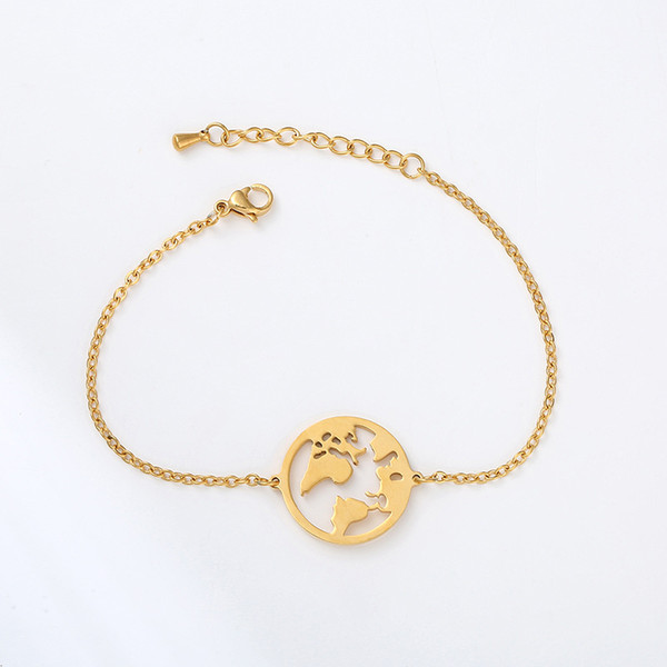 World Map Charm Bracelets Gold Silver Rose Gold Map of the World Chain Bracelets for Women Fashion Jewelry