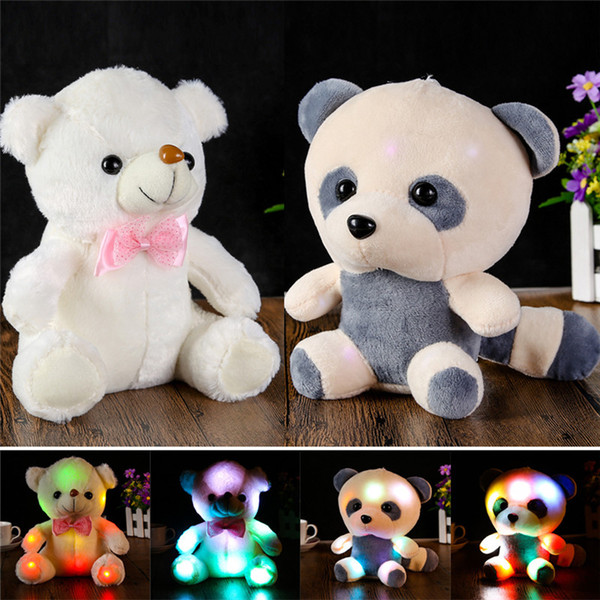Colorful Lovely LED Flash Light Large Panda Doll Incandescente Teddy Bear Hug Led farcito Peluche per bambini Regali per il compleanno