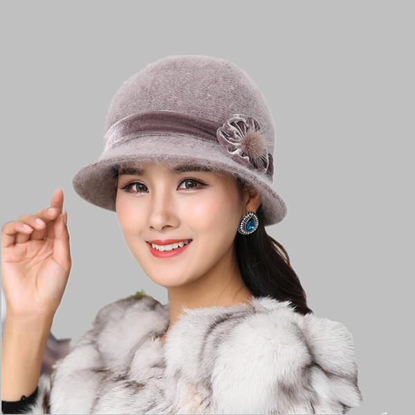 Autumn Winter Fedora Rabbit Fur Hat for Women Fashion Casual Cap Solid Colors Gorros Cap Women's Hats Chapeau Femme Warm hat D18103006