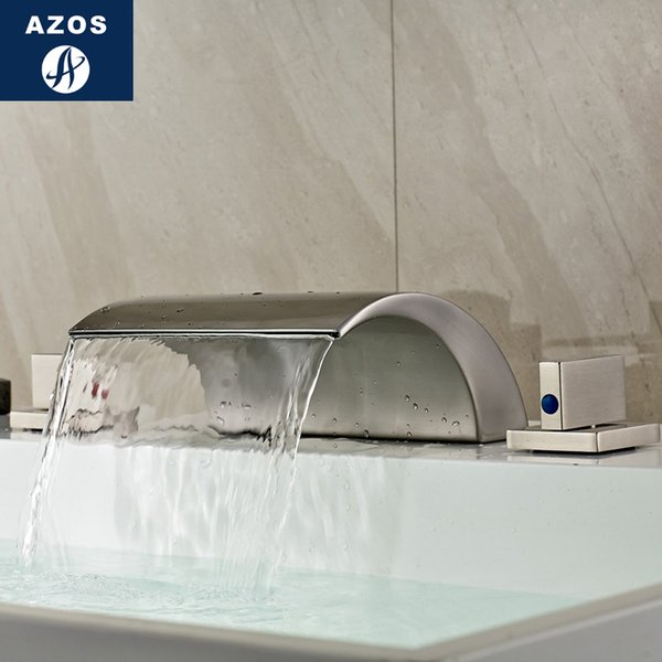 venta al por mayor Split Faucet Waterfall Waterfall Brass Nickel Brushed Cold and Hot Switch Baño Ducha Cuarto de baño Doble manija Tres Ho