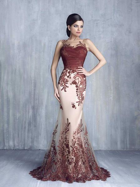 Tony Chaaya Dresses Evening Wear Sheer Bateau Neckline burgundy Appliqued prom Gonws Mermaid Sweep Train Beaded Tulle Formal Dress