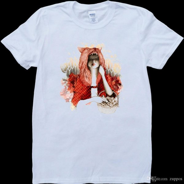 Modern Red Riding Hood White, Custom Made Men's T-Shirt Cartoon tee shirt homme high quality top tees