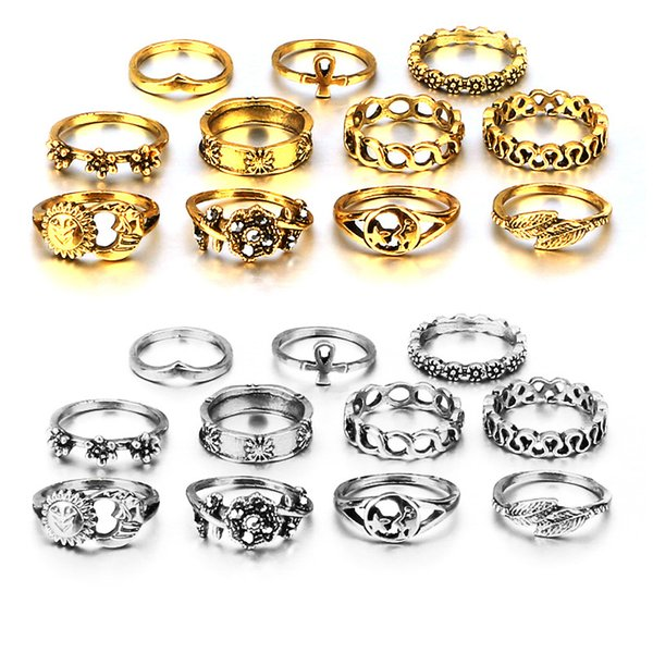 Bohemia Sliver Gold Color Punk Joint Rings Vintage Hollow Carved Flowers Knuckle Rings Set Finger Ring Gift 11pcs/Set D449L