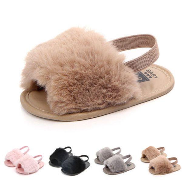 5de6cb9e1 Fashion Toddler Baby Girls Summer Pompom Faux Fu Shoes Anti-slip Flip-flops  Flat Sandals Clogs Shoes Cute casual