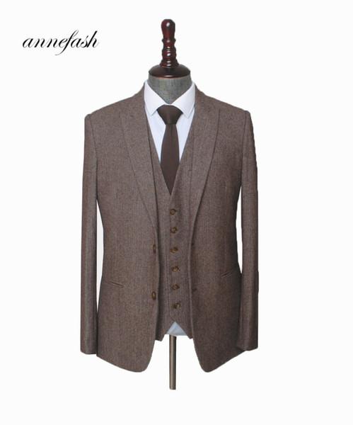 Custom Made Woolen brown Herringbone Tweed men wedding suit British style Mens suit tailored plus size Blazer suit S18101903