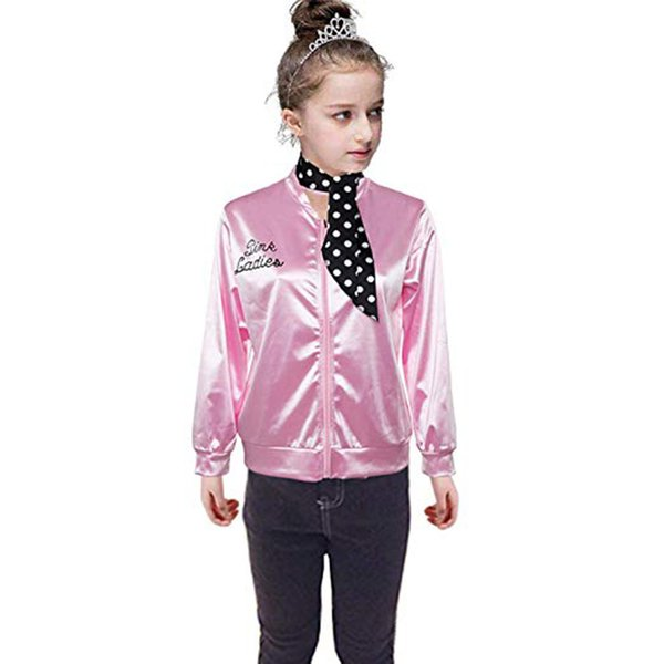 Child Pink Ladies Jacket Satin Jacket Costume with Polka Dot Scarf Coat baby girls coat baby girl winter clothes